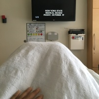 Watching Law & Order from my hospital bed after the arteriogram.